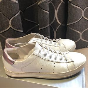 Luca Ferri White Lace Up Leather Sneakers Size 8